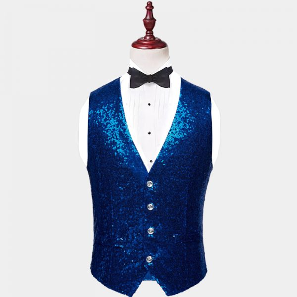 Mens Royal Blue Sequin Vest from Gentlemansguru.com