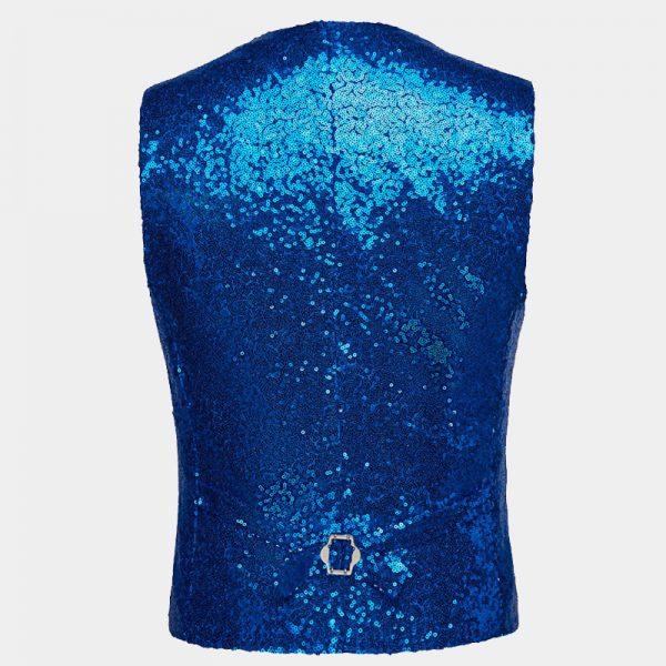 Mens Royal Blue Sequin Waistcoat from Gentlemansguru.com