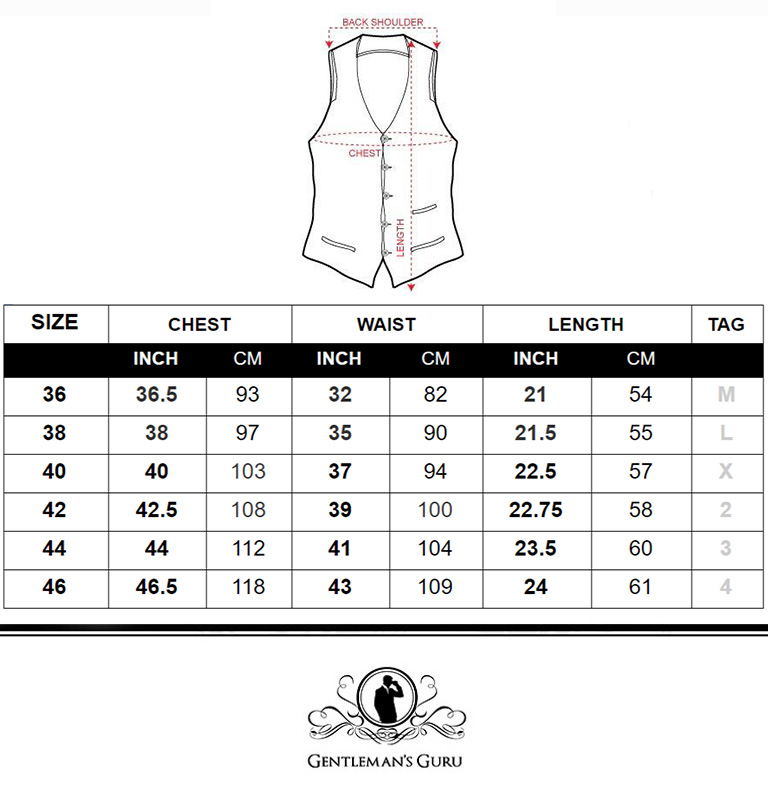 Mens Sequin Vest Size Chart from Gentlemansguru.com