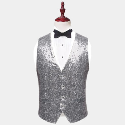 Mens Silver Sequin Vest from Gentlemansguru.com