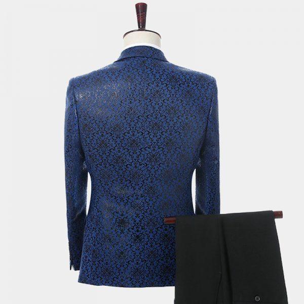 Black And Blue Wedding Tuxedo For Men