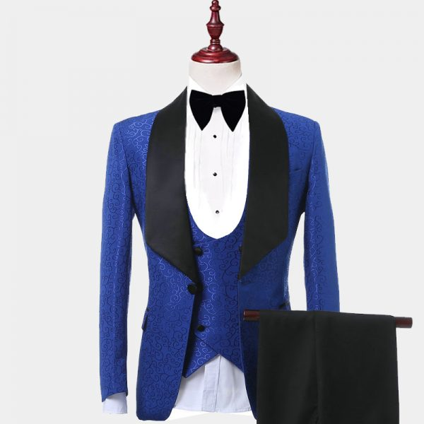 Mens Blue Tuxedo With Black Lapel Sating Shawl Lapel from Gentlemansguru.com