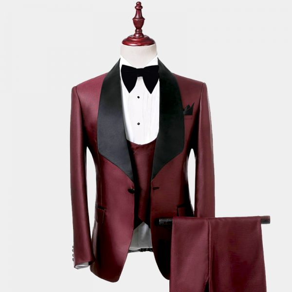 Mens Burgundy and Black Tuxedo Suit Prom Wedding from GentlemansGuru.com