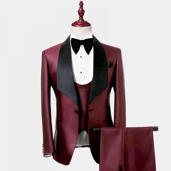 Mens Burgundy and Black Tuxedo Suit Prom Wedding from GentlemansGuru.com