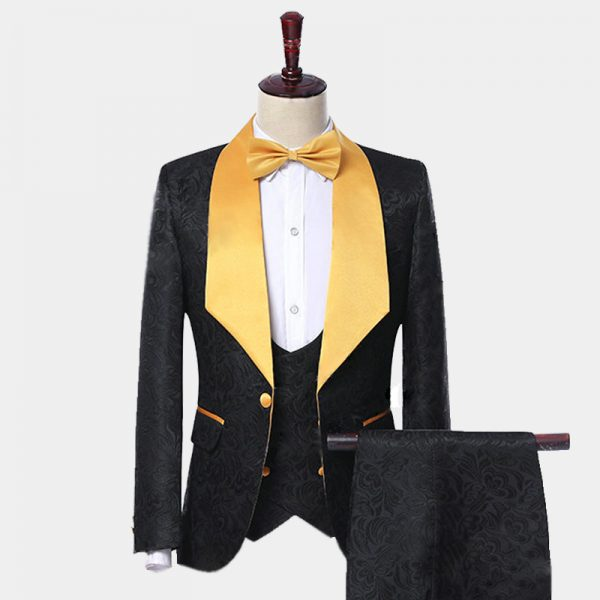 Mens Wide Lapel Black And Gold Floral Tuxedo from Gentlemansguru.com