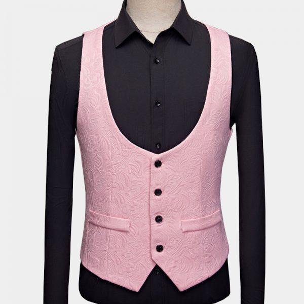 Black And Pink Tuxedo Vest from Gentlemansguru.com