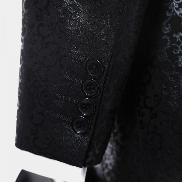 Skinny Fit Patterned Black Tuxedo Suit from Gentlemansguru.com