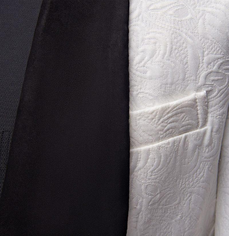 White And Black Tuxedo With Black Shawl Lapel