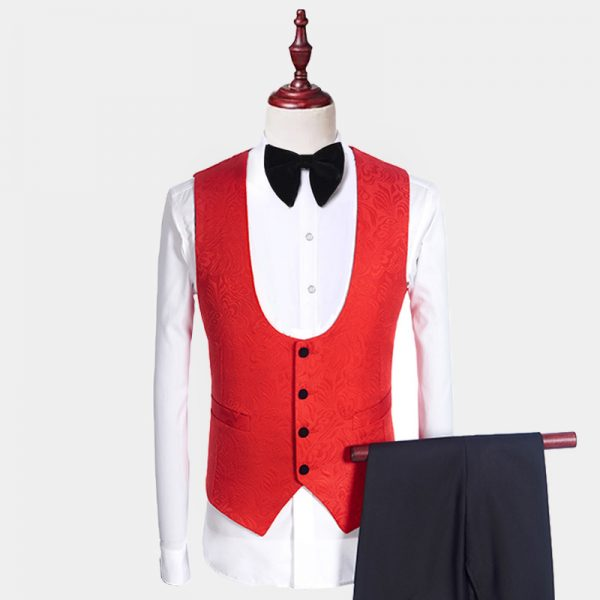 Red And Black Tuxedo Vest from Gentlemansguru.com