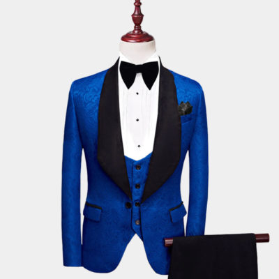 Mens ROyal Blue And Black Tuxedo Suit from Gentlemansguru.com