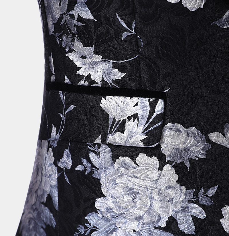 Black and Silver Tux With Floral Print from Gentlemansguru.com
