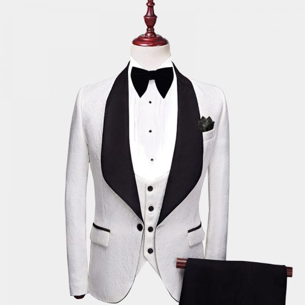 White And Black Tuxedo Suit from Gentlemansguru.com