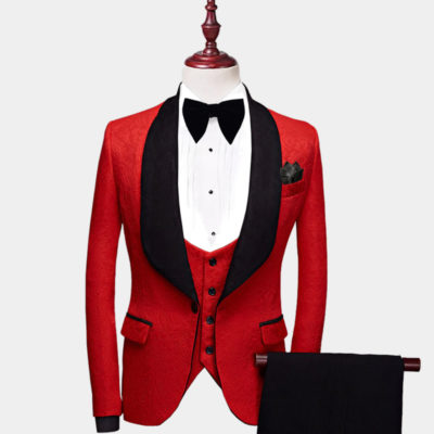 Mens Red And Black Tuxedo Suit For Prom-Wedding from Gentlemansguru.com