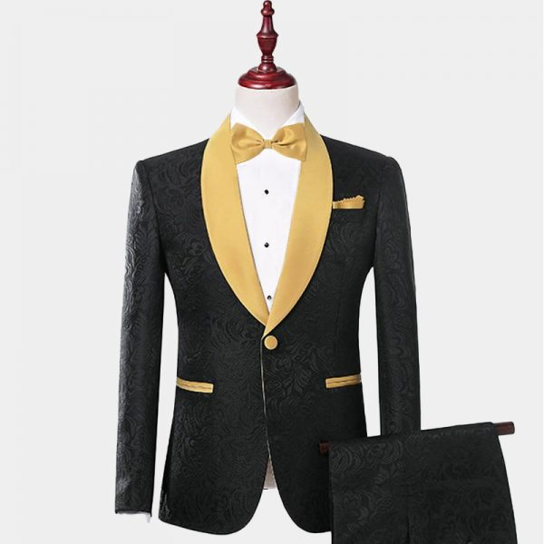Floral Black And Gold Tuxedo Suits from Gentlemansguru.com