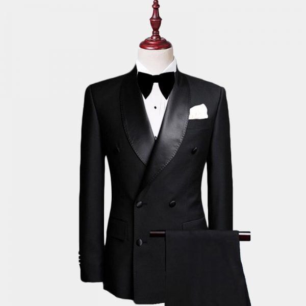 Men's Black Double Breasted Tuxedo Suit from Gentlemansguru.com