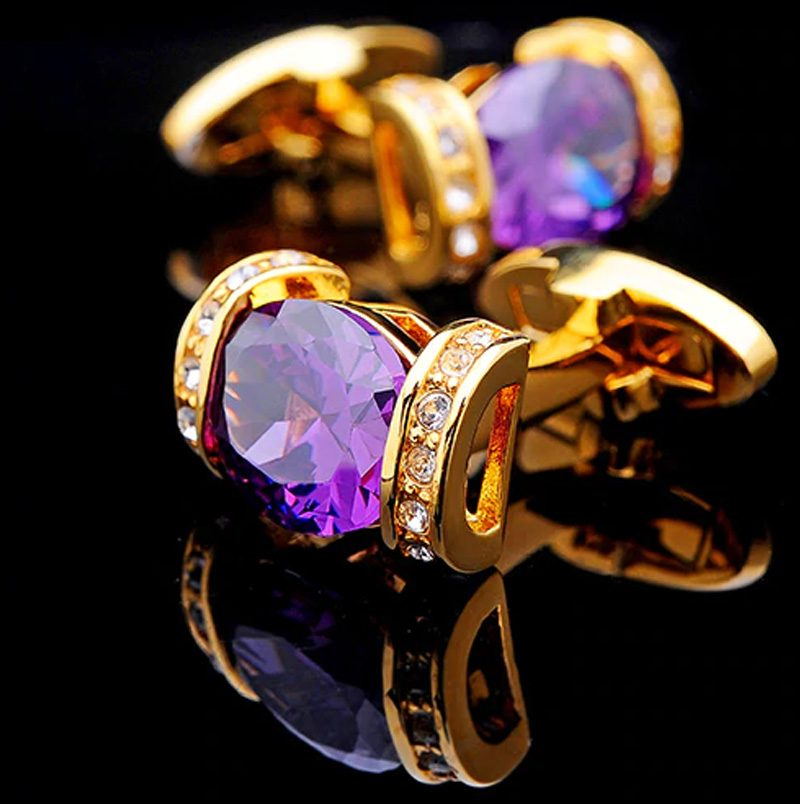18K Plated Gold And Purple Cufflinks With Crystal from Gentlemansguru.com