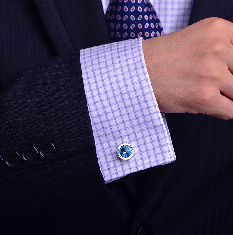 Baby Blue Stone Cufflinks Button Shirt from Gentlemansguru.com