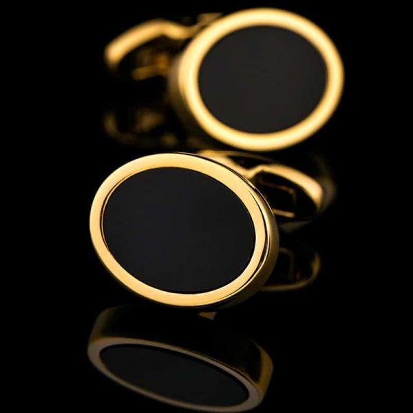 Black And Gold Oval Cufflinks from Gentlemansguru.com