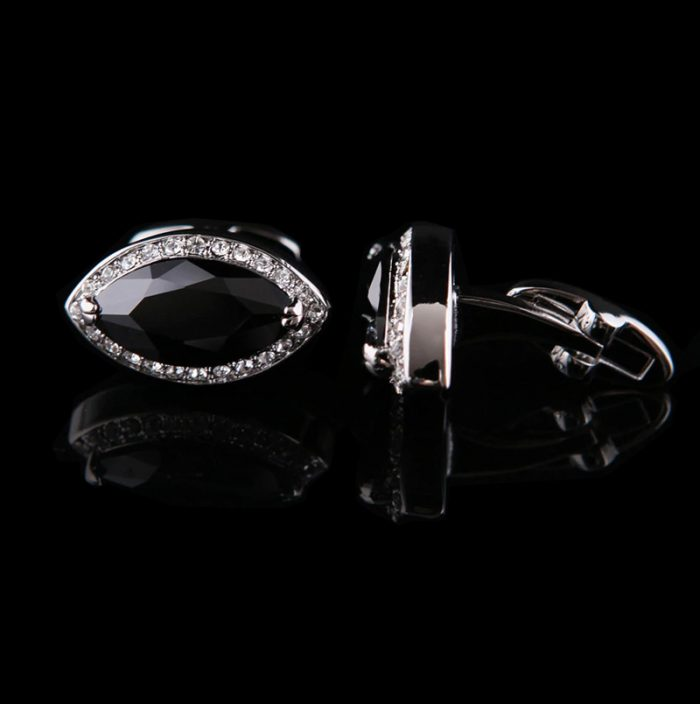 Black Diamond Cut Shaped Encrusted Cufflinks from Gentlemansguru.com