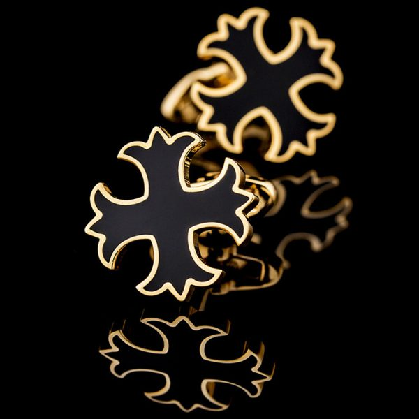 Black and Gold Patonce Cross Cufflinks from Gentlemansguru.com