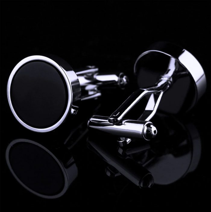 Black and Silver Round Cufflinks Set For Men from Gentlemansguru.com