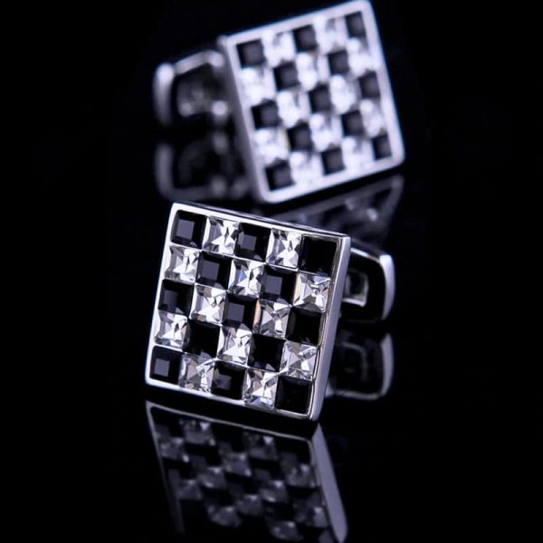 Black and White Checkered Cufflinks With Crystal from Gentlemansguru.com
