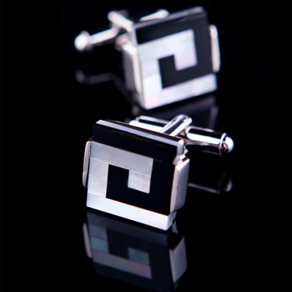 Black and White Shell Cufflinks from Gentlemansguru.com
