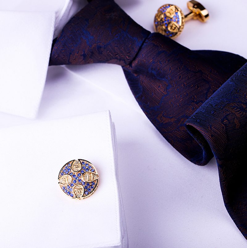 Blue Crystal Gold Plated Cufflinks French Cuff Button Shirt from Gentlemansguru.com