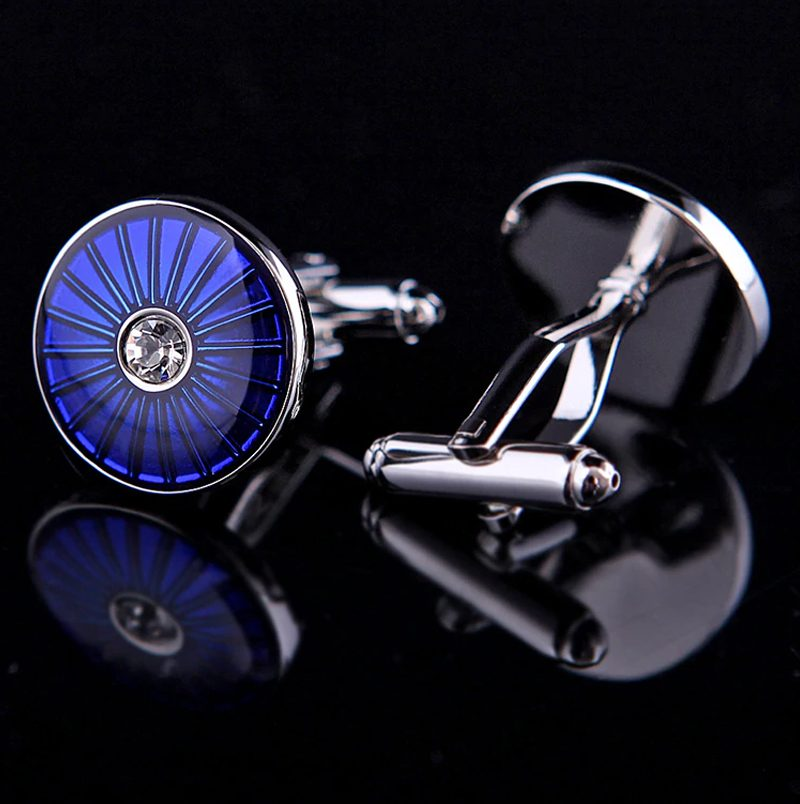 Blue Round Crystal Mens Cufflinks Sets from Gentlemansguru.com