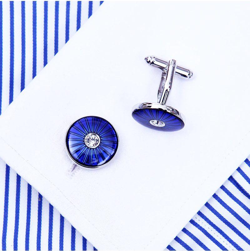 Blue Round Cufflinks With Crystal Button Shirt Cufflinks from Gentlemansguru.com