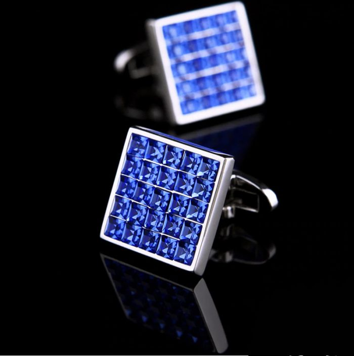Blue Swaroivski Crystal Cufflinks for Men from Gentlemansguru.com