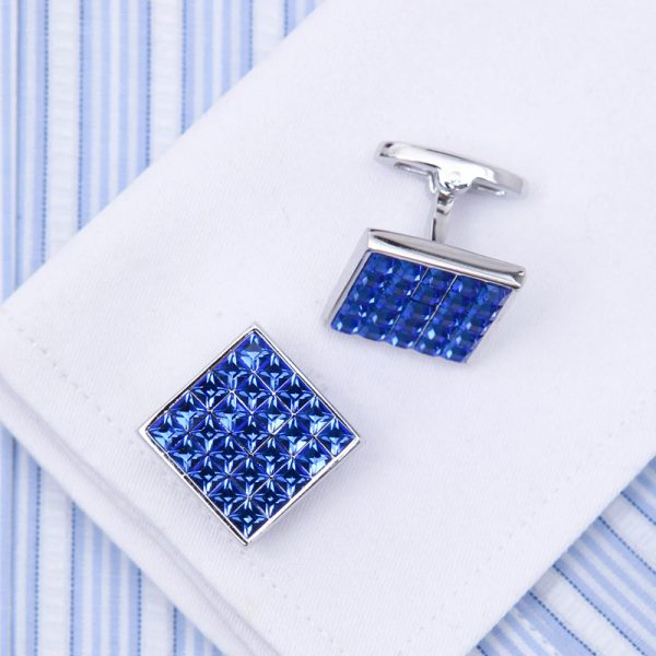 Blue Swarovski Crystal Cufflinks Set Button Shirt For Men from Gentlemansguru.com