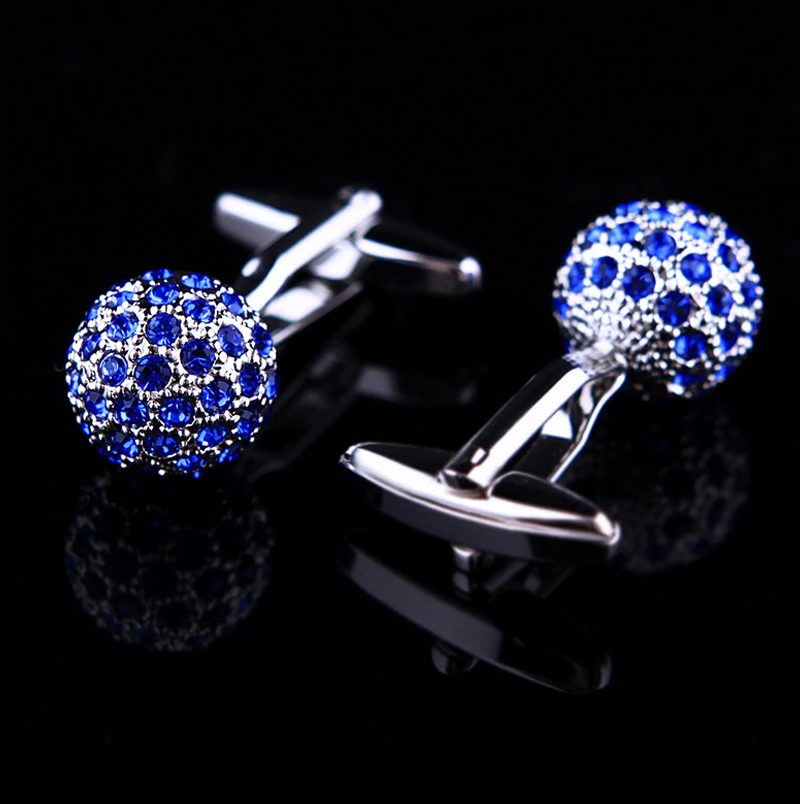 Blue and Silver Crystal Ball Cufflinks For Men from from Gentlemansguru.com