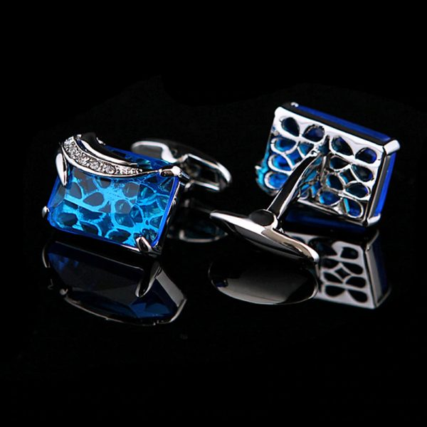 Blue and Silver Gemstone Cufflinks Crystal Cufflinks Set For Men from Gentlemansguru.com