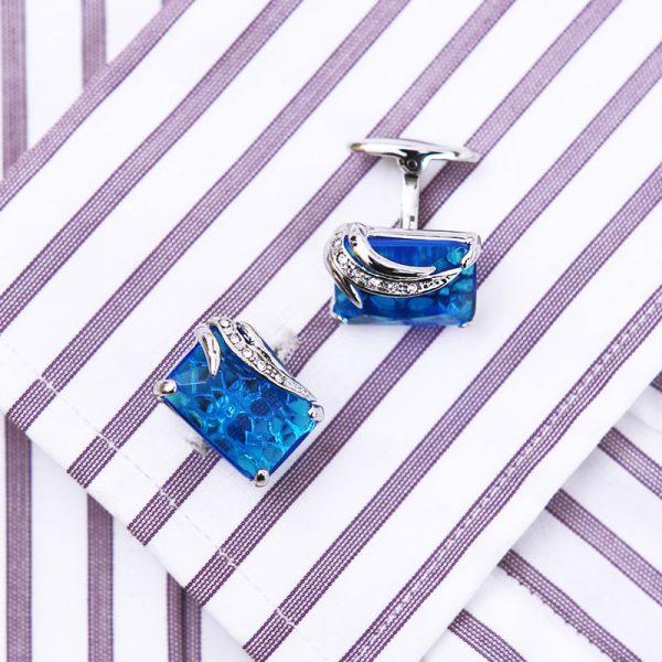Blue Stone Crystal Cufflinks Button Shirt Cufflinks from Gentlemansguru.com