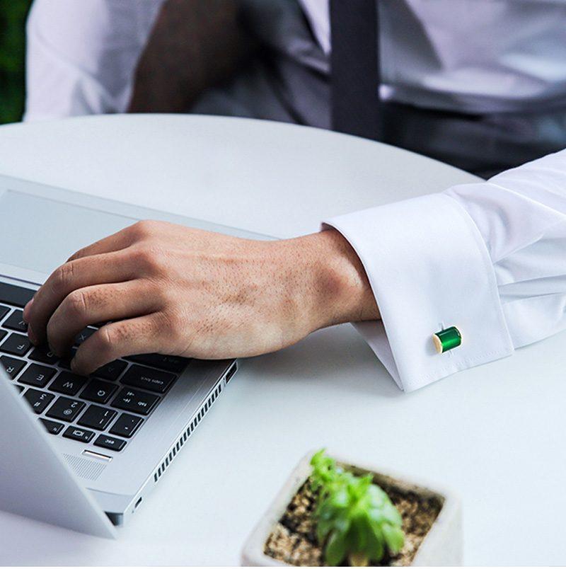 Business Emerald Green and Gold Cufflinks Set emerald green cufflinks