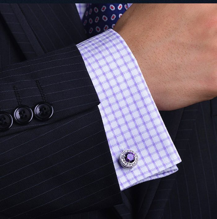 Button Round Purple Crystal Cufflinks from Gentlemansguru.com