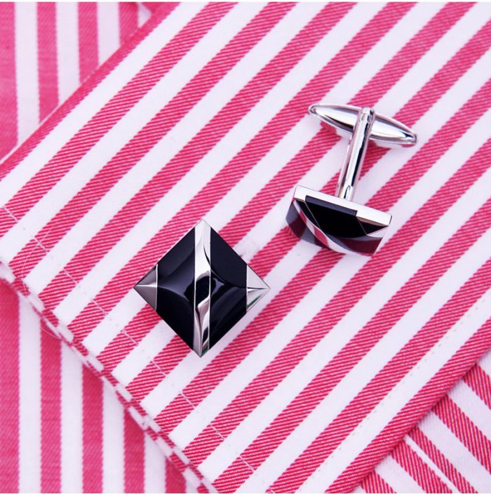 Button Shirt Black And Silver Cufflinks from Gentlemansguru.com
