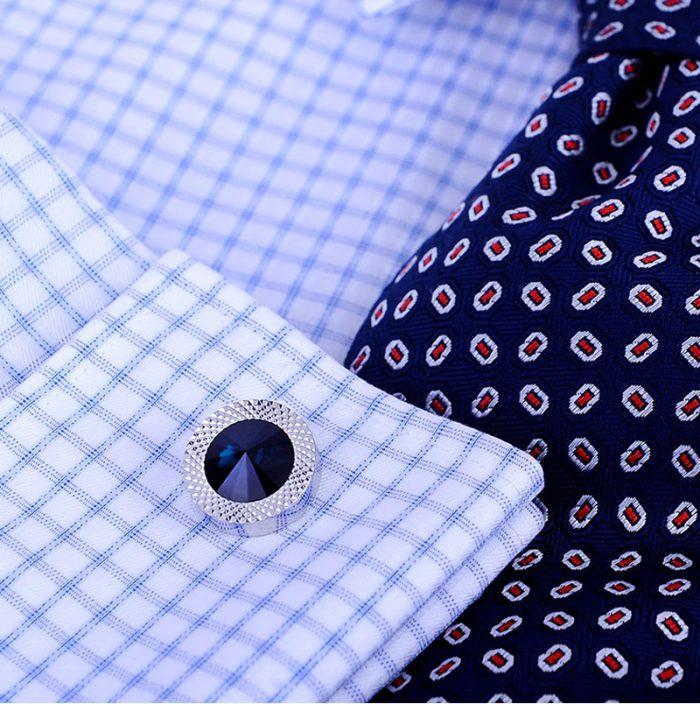 Button Shirt Blue Crystal Mens Cufflinks from Gentlemansguru.com