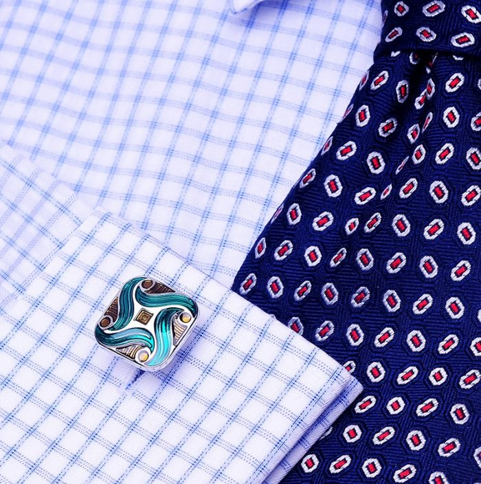Button Shirt Cufflinks With Green Enamel from Gentlemansgur.com