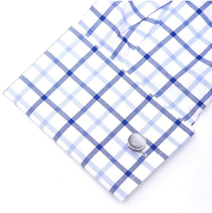 Button Shirt Double Sided Silver Cufflinks Set For Men from Gentlemansguru.com