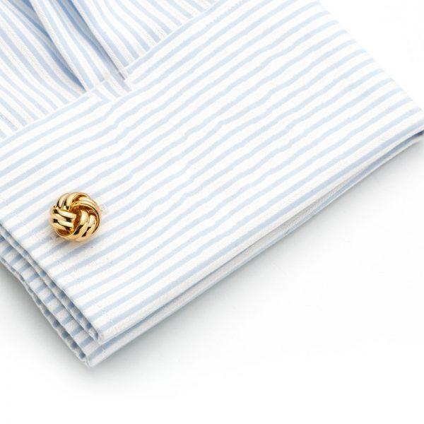 Button Shirt Gold Love Knot Cufflinks Set from Gentlemansguru.com