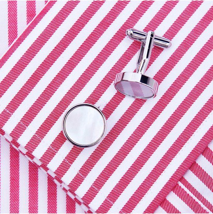 Button Shirt Shell Cufflinks Round Silver Cufflinks from Gentlemansguru.com