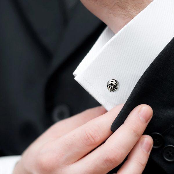 Button Shirt Silver Knot Cufflinks Set from Gentlemansguru.com