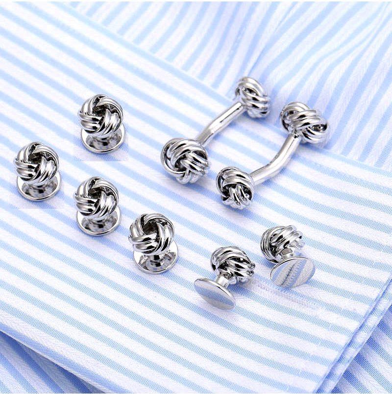 Button Shirt Tiffany Cufflinks and Studs Set from Gentlemansguru.com
