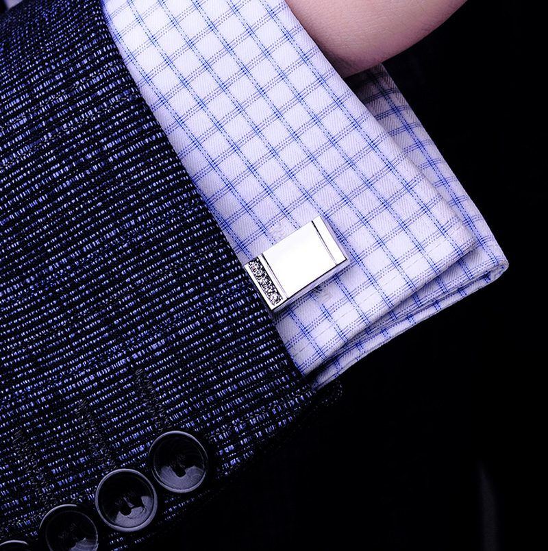 Button Silver Cufflinks Set from Gentlemansguru.com
