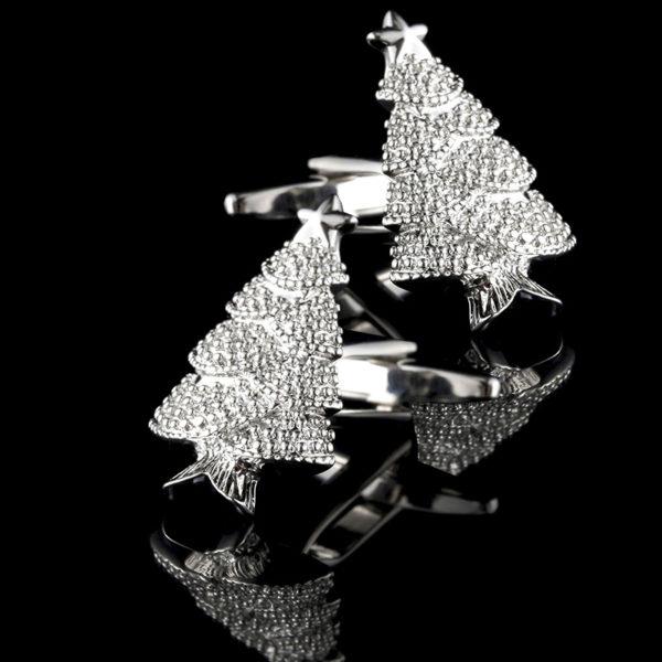Christmas Tree Cufflinks With Silver Plating from Gentlemansguru.com