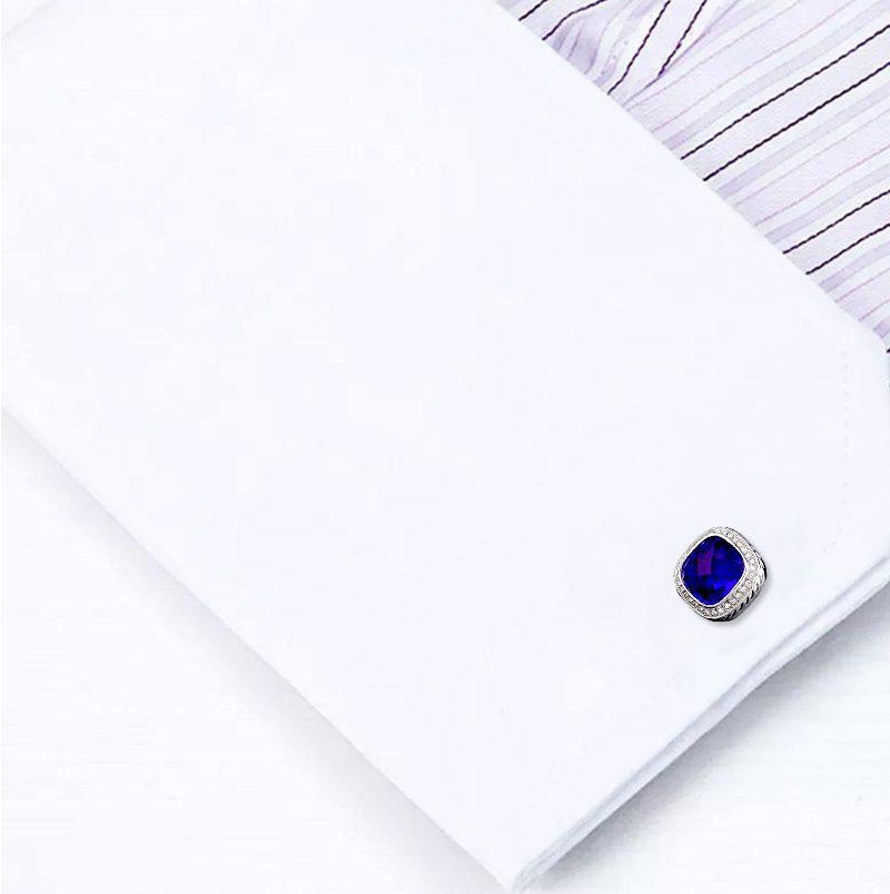 Cobalt Blue French Cuff Button Shirt Cufflinks from Gentlemansguru.com