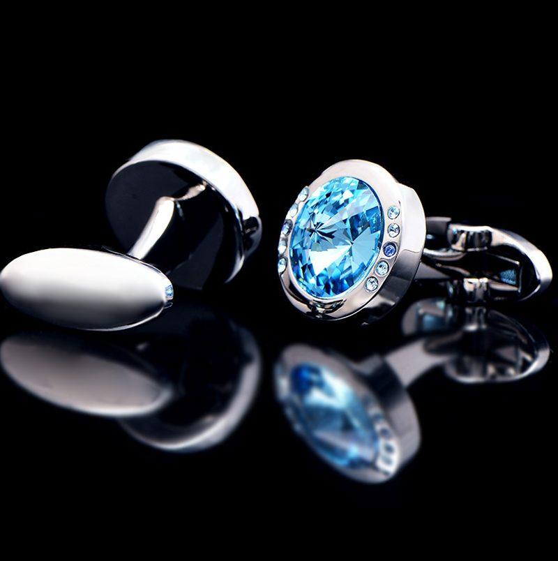 Crystal Baby Blue Stone Cufflinks from Gentlemansguru.com