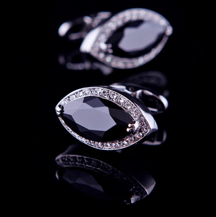 Crystal Black Diamond Cufflinks from Gentlemansguru.com